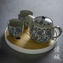 China Jingdezhen blue and white porcelain Kung Fu tea pot teapot c antique ceramic handmade teaware kettle vintage tea set cups стоимость