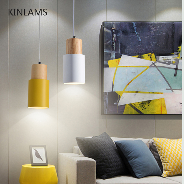 Designer Nordic simple Wood Pendant Lights led hang lamp Colorful Aluminum fixture  Kitchen Island bar hotel home decor E27 2