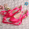 Super Quality Fuchsia Satin Ballet Flats Bridal Wedding Shoes Ribbon Womens Big Size 42