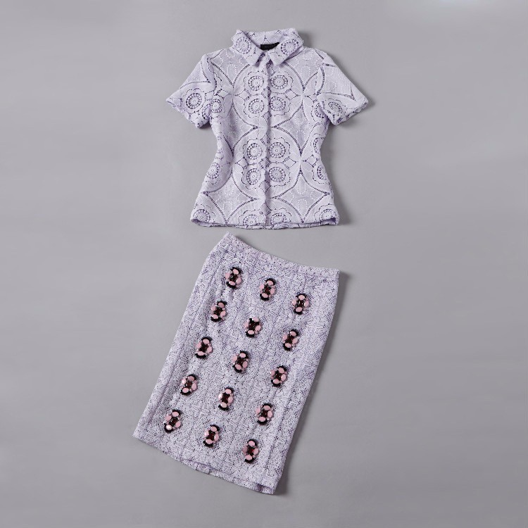Soluble Flowers Lace Jacket with Skirt Suit Heavy Beading Runway Fashion Women Suit  (16)