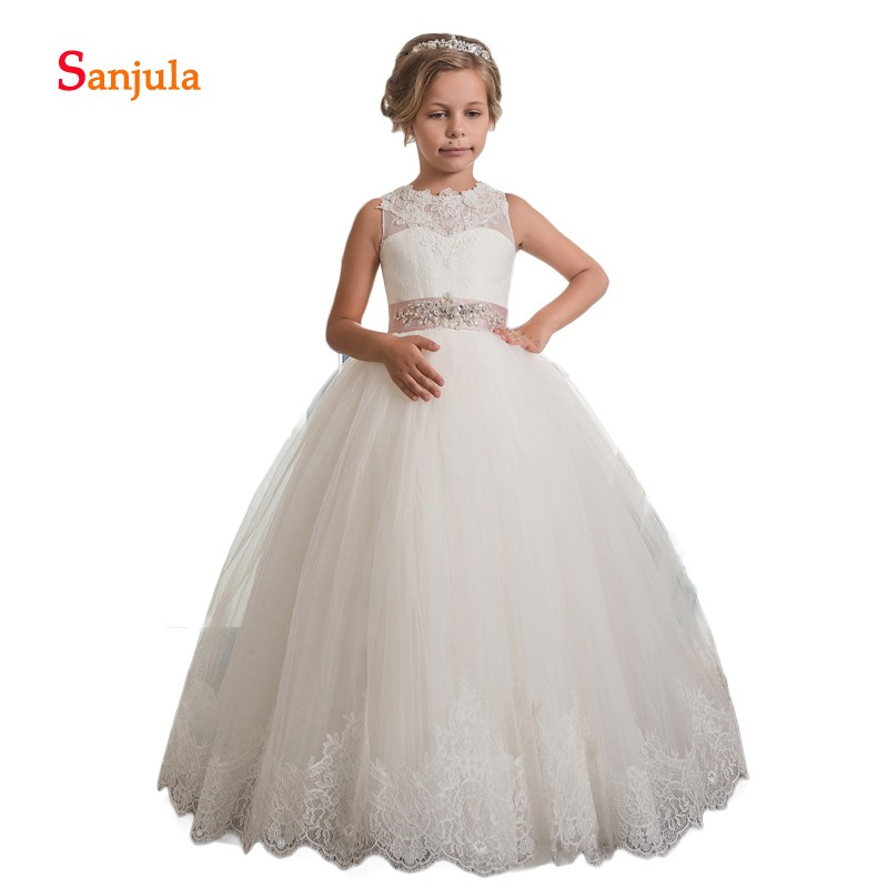 High Quality Lace Children   Dresses   Puffy Tulle Skirt Ball Gown Princess   Flower     Girls     Dresses   Appliques Beaded Sequins D128