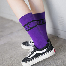 Letters Happy socks women letters candy color long  trend ladies pile net red womens