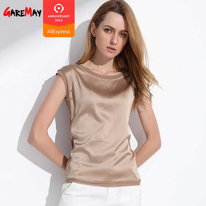 f55005354b97 Summer women blouses 2019 new casual chiffon silk blouse slim sleeveless  O-neck blusa feminina