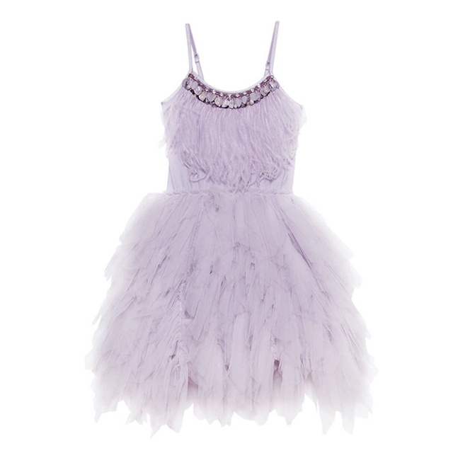 JOYHOPY Flower Girl Dress Fashion Feather Tassels Girls Wedding Party Dress Girls Princess Dresses Clothing 2-7 2