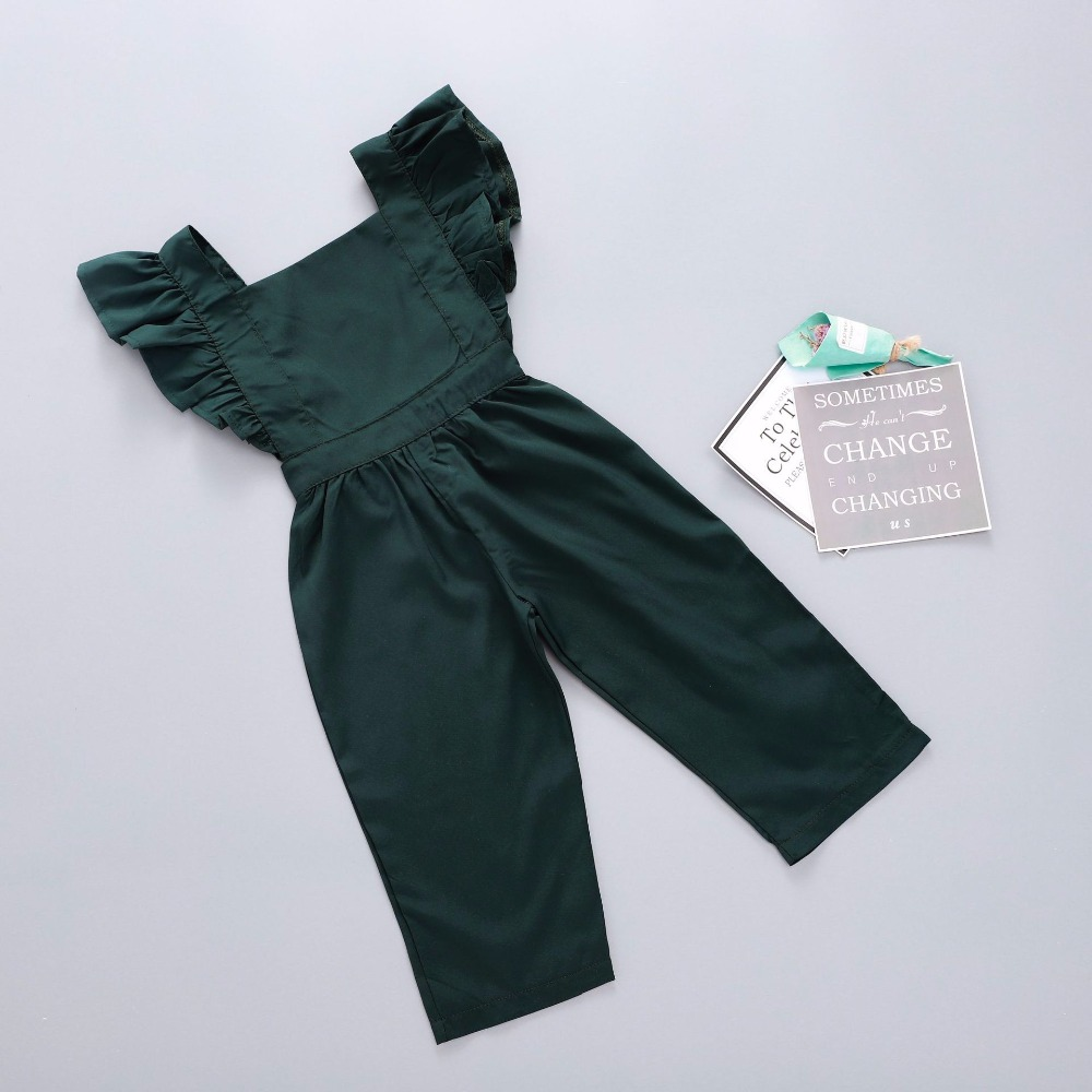 2018 Baby Girl Romper Baby Overalls Flutter Sleeve Backless Rompers Girls Rompers Jumpsuit Baby Girl Summer Clothes Dark Green haoyuan ruffles off shoulder bodysuit women black red combinaison femme backless sexy rompers jumpsuit skinny bodycon overalls
