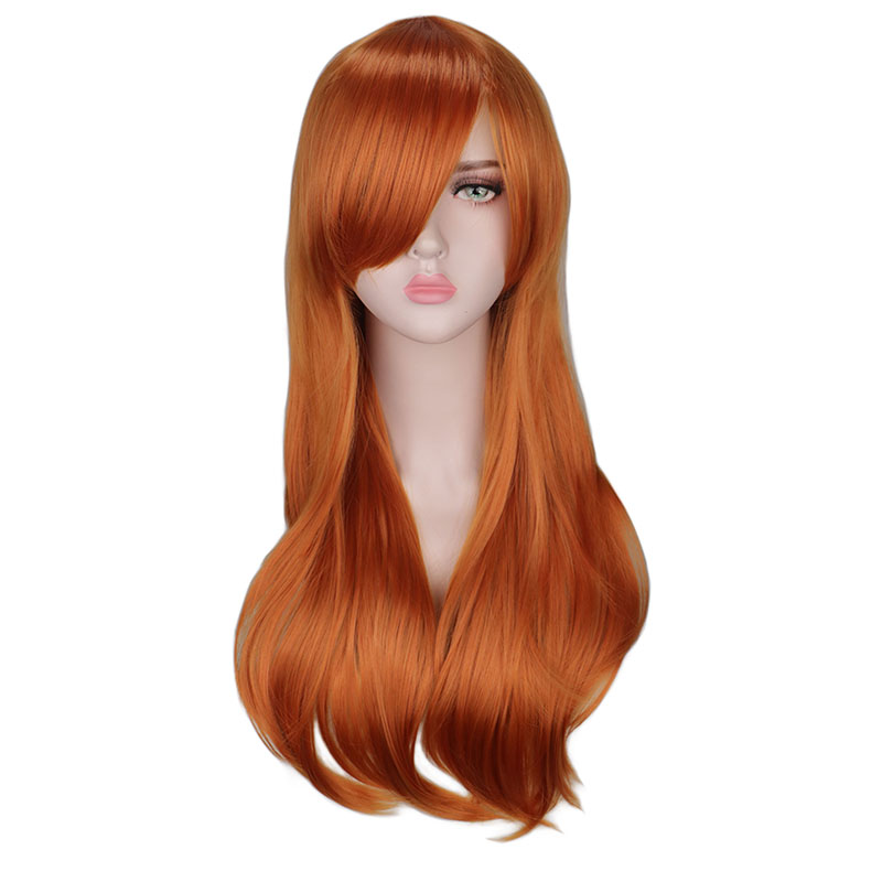 QQXCAIW Long Curly Cosplay Costume Orange Wig For Women High Temperature Synthetic Hair Wigs