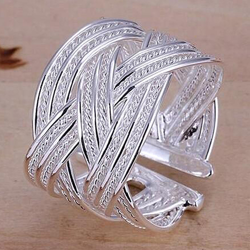 Women s Fashion Silver Plated Claw Ring Woven Mesh Style Jewelry Gift US 8