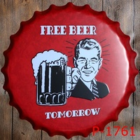 40cm Nostalgia Vintage Tin Signs Bar Lounge Culb Wall Decor Metal Beer Bottle Caps Poster Plate