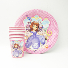 20pcs/set Sofia Princess Plate/Cup Favors Kids Decoration Festival supplies Party girls Birthday Cartoon Theme