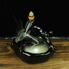 Creative Led Incense Burner Ceramic Furnace Ornament Sandalwood Cones Smoking Backflow Censer Black Porcelain Home Decoration