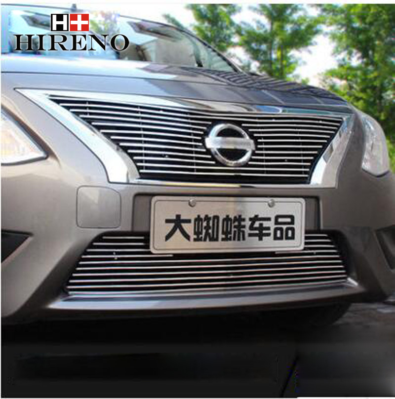 Stainless Steel Car Racing Grills For Nissan Versa Sunny 2011-2014 Front Grill Grille Cover Trim Car styling