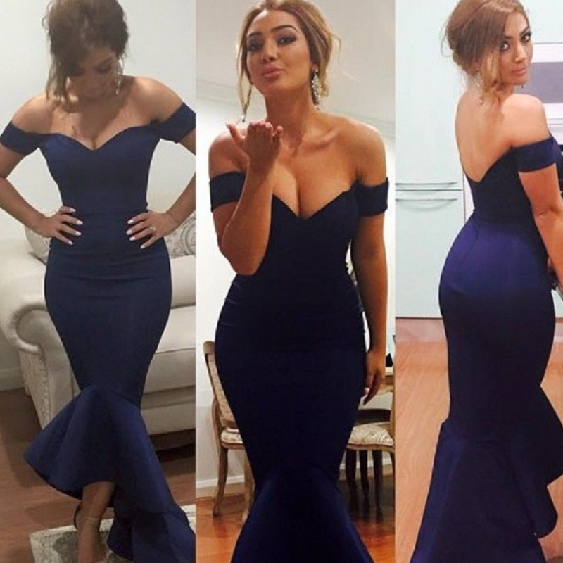 0dd081779b49 Detail Feedback Questions about Fashionable Royal Blue Bridesmaid Dresses  2019 Off Shoulder Mermaid Maid Of Honor Dress For Weddings Short Sleeves  Party ...