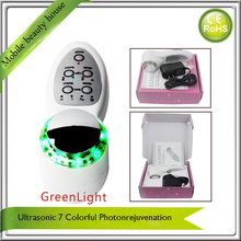 Ultrasonic Facial Lift Acne Wrinkle Removal Makeup Treatment 7 Color BIO Led Photon Therapy Beauty Instruments  Free Shipping