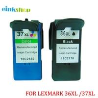 Einkshop 2 stuks Voor Lexmark 36 37 36xl 37xl Inktpatronen 18C2170 18C2180 Voor Lexmark X3650 X4650 X5650 X6650 X6675 z2420 voor