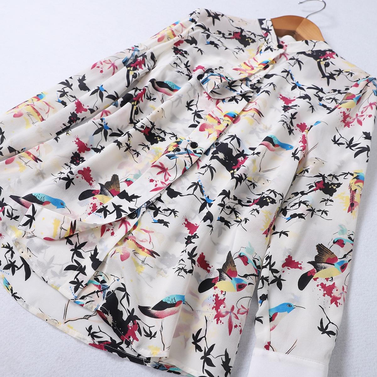 Picture Pour Chemisiers Printemps Tcyeek Mode Femmes De Floral 100 Hauts Manches Élégant As En Coréen Réel Chemisier Vêtements Lwl1820 Soie Dames Longues Xw1wYpq
