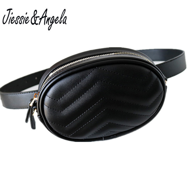 Jiessie & Angela Fashion Women Leather Waist Bags Women Messenger Bag Fanny Pack Belt Hand Free Bag Travel Money Bags