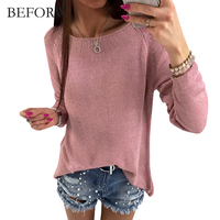 BEFORW Autumn Winter New Fashion Women Tops Back Zipper Long Sleeves T Shirt Loose Korean T