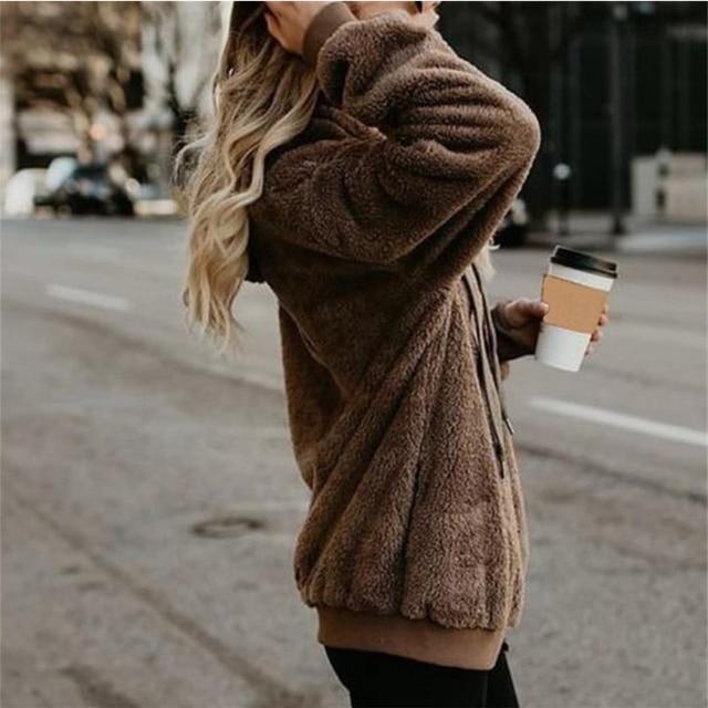Wipalo Women Fleece Hoodies 2019 Long Sleeve Hooded Pullover Sweatshirt Autumn Winter Warm Zipper Pocket Fur Coat Plus Size 5XL 10