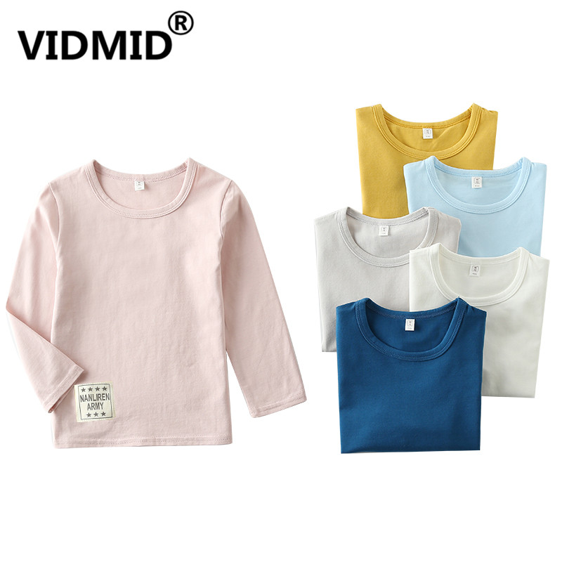 VIDMID Girls Tops Children t-Shirt Long-Sleeve Tees Boys 2001 06 Top-Quality Pure-Color