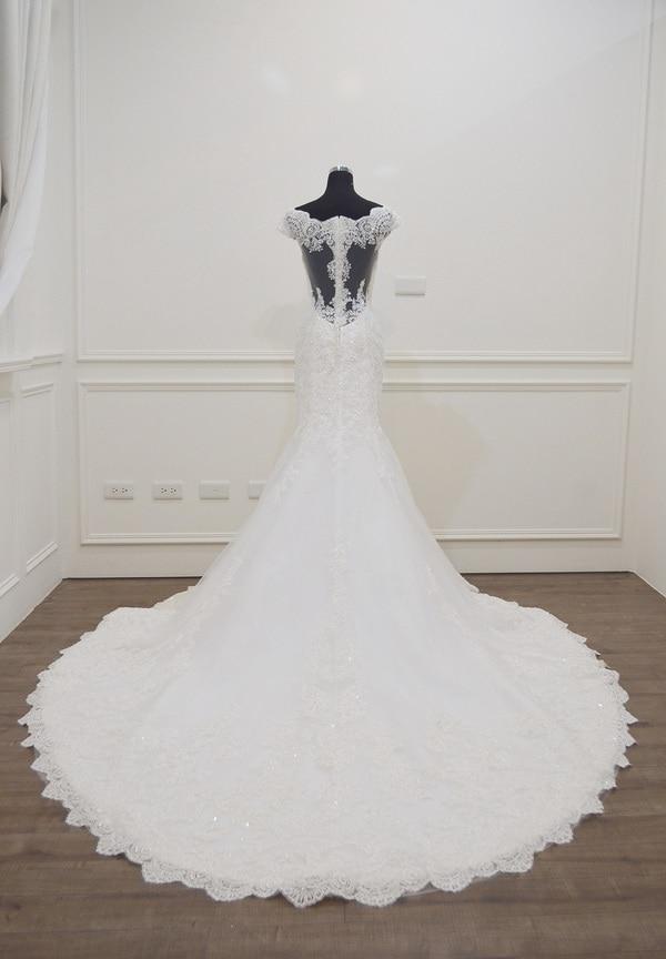 Boat Neck Short Sleeves Lace Mermaid Wedding Dress