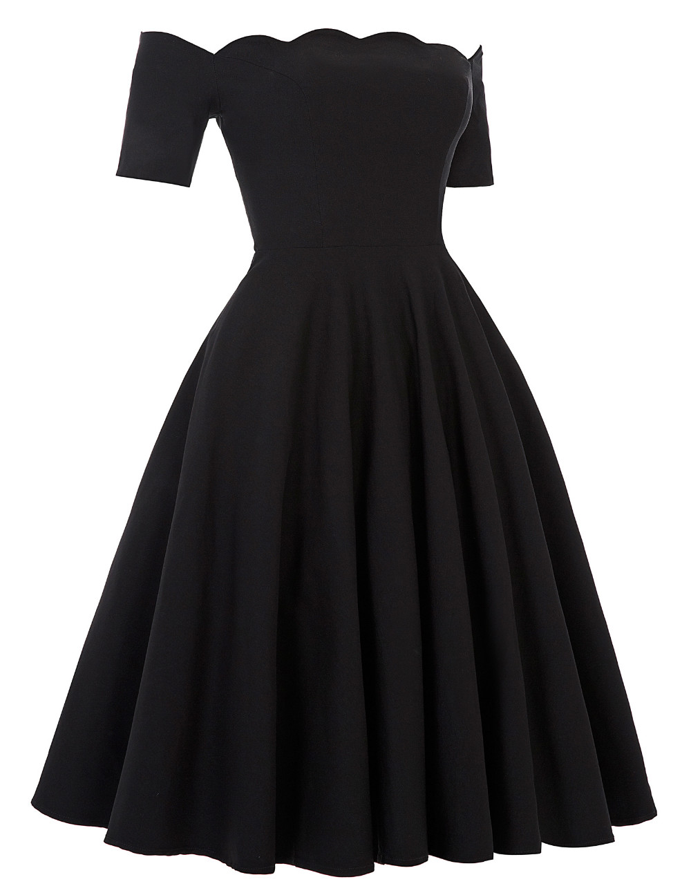 Belle Poque 17 Women Dress Robe Vintage Off Shoulder Black Summer Dress Jurken 1950s 60s Retro Rockabilly Swing Party Dresses 12