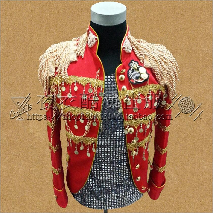 Wedding Sequins Suit Men Blazers Stage Costumes For Male Singers DJ Black Red Stand Collar Military Clothing Suits Jacket Party