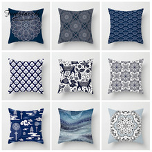 Fuwatacchi Blue Chinese Style Cushion Cover Geometric Printed Sailing Wave Pillows Home Sofa Decorative  Pillowcases