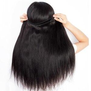 Image 4 - Malezya düz saç demetleri ile kapatma Remy insan saçı postiş dantel kapatma ile 3 demetleri örgü kapatma ile kapatma