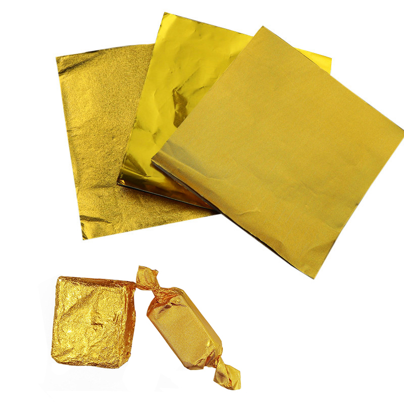100Pcs/Pack Golden Aluminum Foil Candy Chocolate Cookie Wrapping Tin Paper Party DIY  Metal Embossing Gift Packaging Craft Paper
