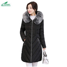 Winter new feather cotton Outerwear female collar fashion large size cotton clothing Slim Korean long jacket coat tide OKXGNZ