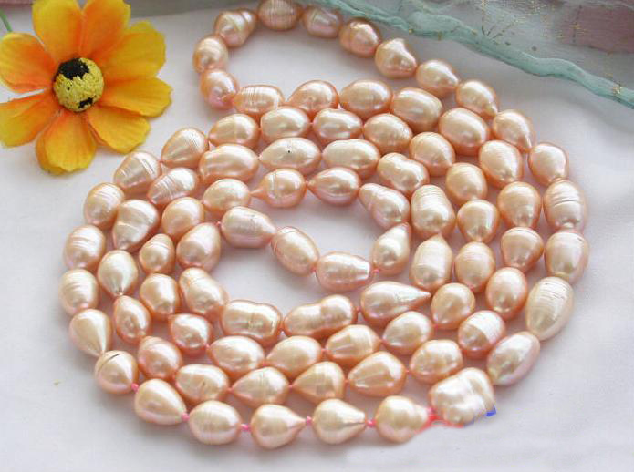 Pearl Necklace,48inches Long 10-15mm Pink Drip Freshwater Cultured Pearl Jewellery,Perfect Women Chirstmas Gift Jewelry 2108