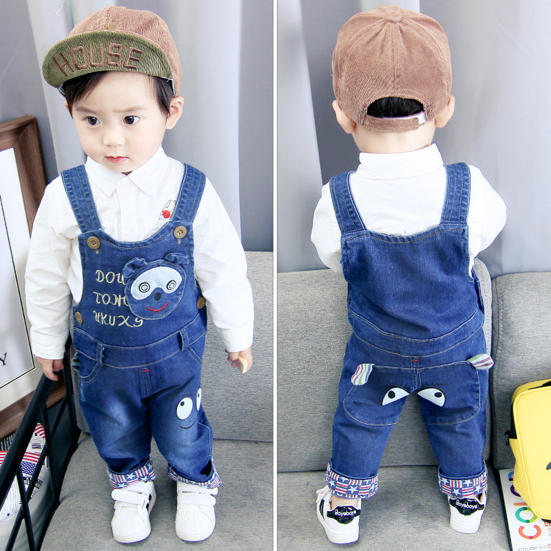 Trousers Overalls Jumpsuits Girls Baby-Boys Kids Children Denim Pants Jeans Spring Cotton