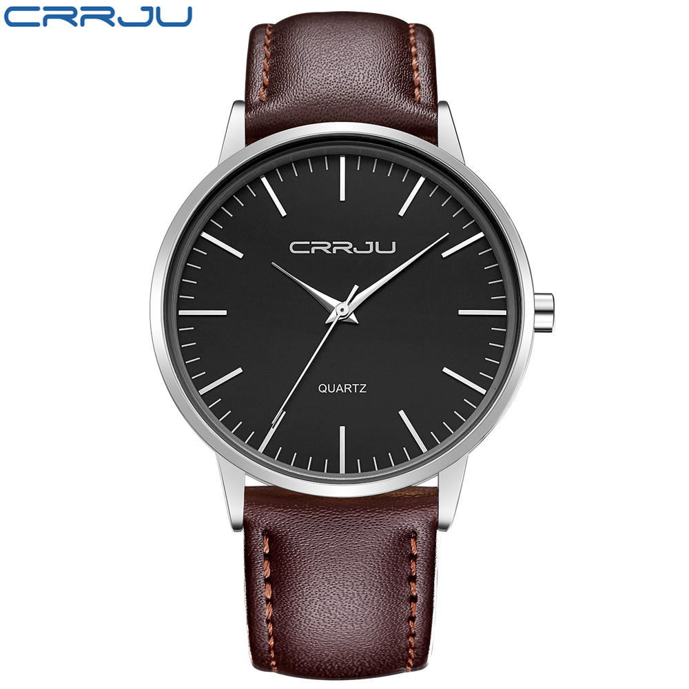 2017 NEW CRRJU Classic Quartz Watch Men Watches Top Brand Luxury Famous Genuine Leather Wristwatch Male Clock Relogio Masculino baosaili fashion wrist watch men watches brand luxury famous male clock women unisex simple classic quartz leather watch bs996