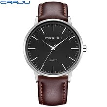 2017 NEW CRRJU Classic Quartz Watch Men Watches Top Brand Luxury Famous Genuine Leather Wristwatch Male Clock Relogio Masculino