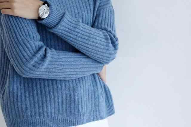 Mới 2019 nguyên chất màu Cashmere Áo len nữ cao cổ rời sọc phong cách mùa đông ấm Áo thun chui đầu nữ thời trang áo len