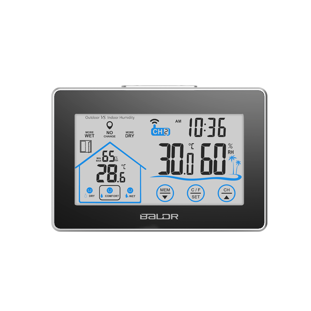 Baldr Weather Station Touch Indoor Outdoor Humidity Wall
