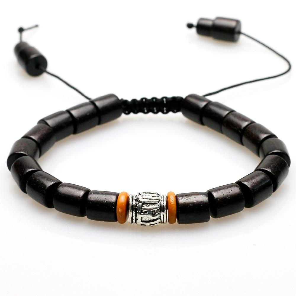Natural Ebony Tibetan Buddhist Handmade White Copper Mantra Sign Charm Black Wood Mala Beads Bracelet For Women Men Unisex