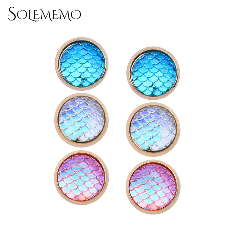 Solememo Resin Cabochon Round Stud Earrings Set Bright Stud Earrings For Fashion Women Birthday Gift Jewelry 2018 New E1932