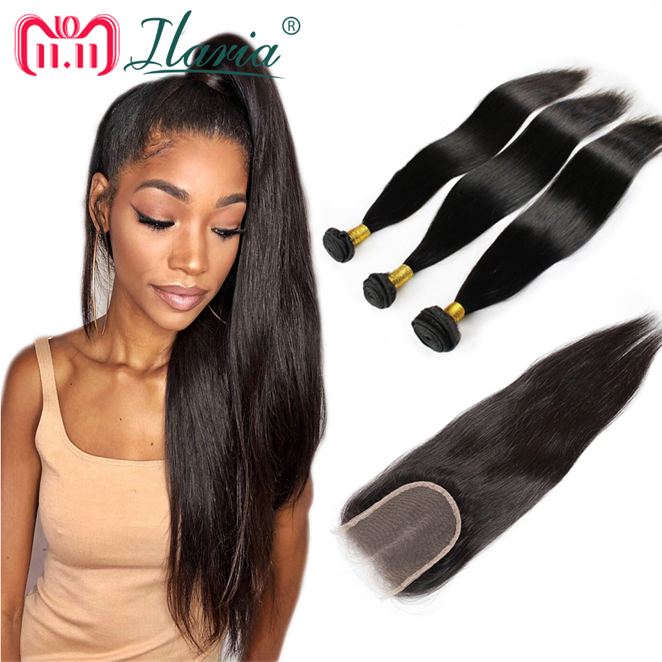 ILARIA 100% Human Hair Bundles With Closure Straight Remy Brazilian Hair Weave 3 Bundles With Lace Closure Human Hair Extension