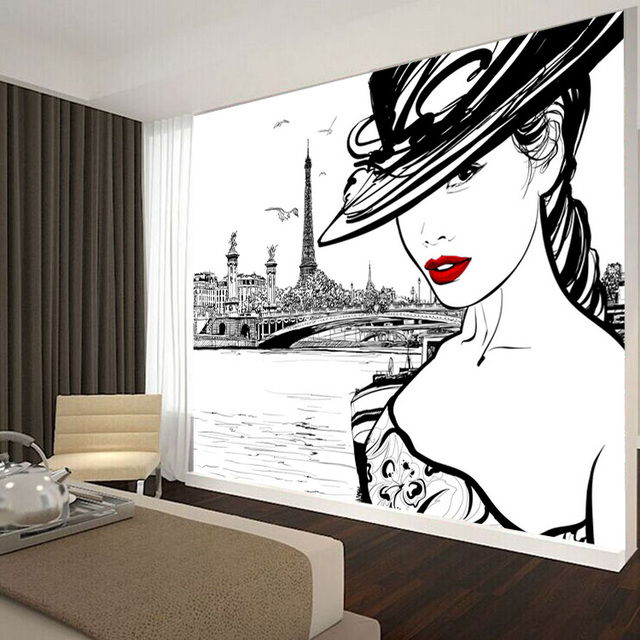 Custom 3d photo wallpaper fashion beauty bedroom living for 3d bedroom drawing
