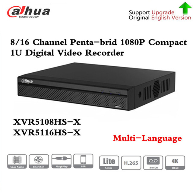 DH XVR5108HS X XVR5116HS X 8/16 Channel 1080P Compact 1U Digital Video Recorder support CVI TVI IP video for CCTV System