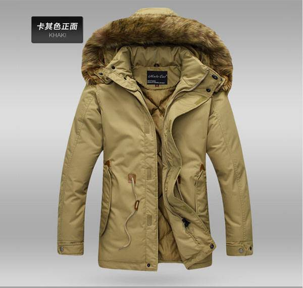 ФОТО Famous brand  men cotton jacket winter rabbit fur hooded coat outwearfor male casacos masculino 2014 roupas masculinas S639