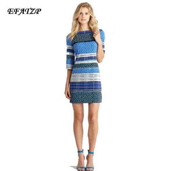 2015 Summer Runway Designer Dress Women s High Quality Half Sleeve Blue Striped Printed Casual Jersey