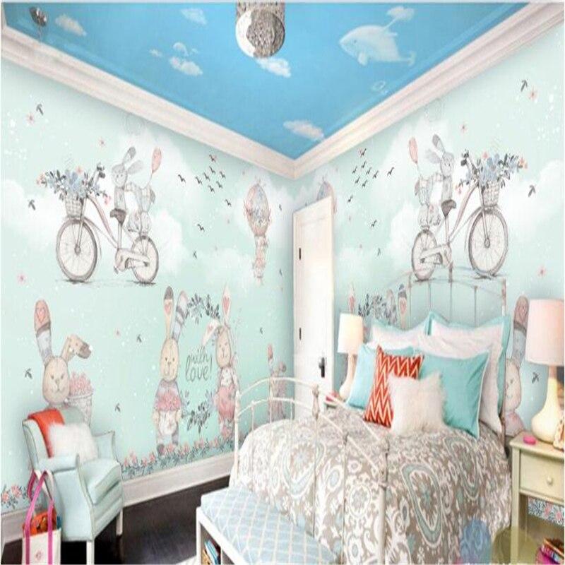 Купить с кэшбэком beibehang Large Custom Wallpaper Mural Hot Air Balloon Abstract Bunny Hand Painted Snow Cartoon Kids Wallpaper 3d flooring