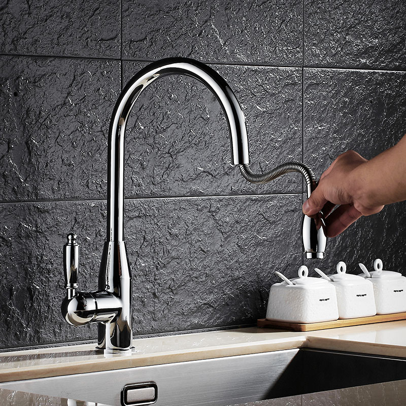 Free Shipping New Arrival Brass chrome Spring Pull Out Kitchen Faucet Sink Faucet luxury Hot & Cold Water Tap Kitchen Mixer tap gappo pull out kitchen faucet brass water mixer kitchen tap kitchen mixer tap water tap brass chrome torneira cozinha