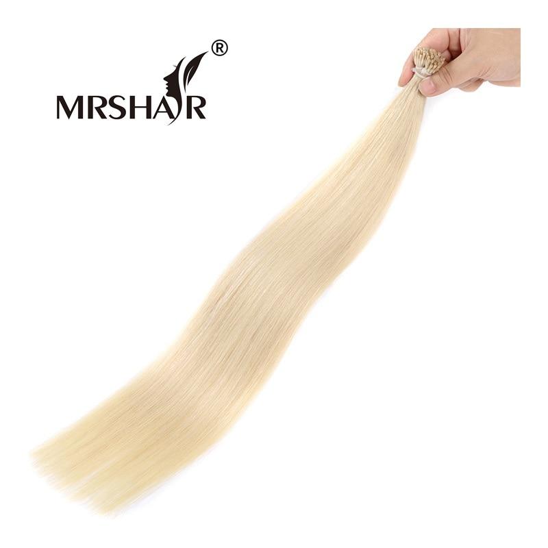 MRSHAIR 60 Keratin Human Hair Extensions I Tip 1g pc Platinum Blonde Hair Straight Non Remy