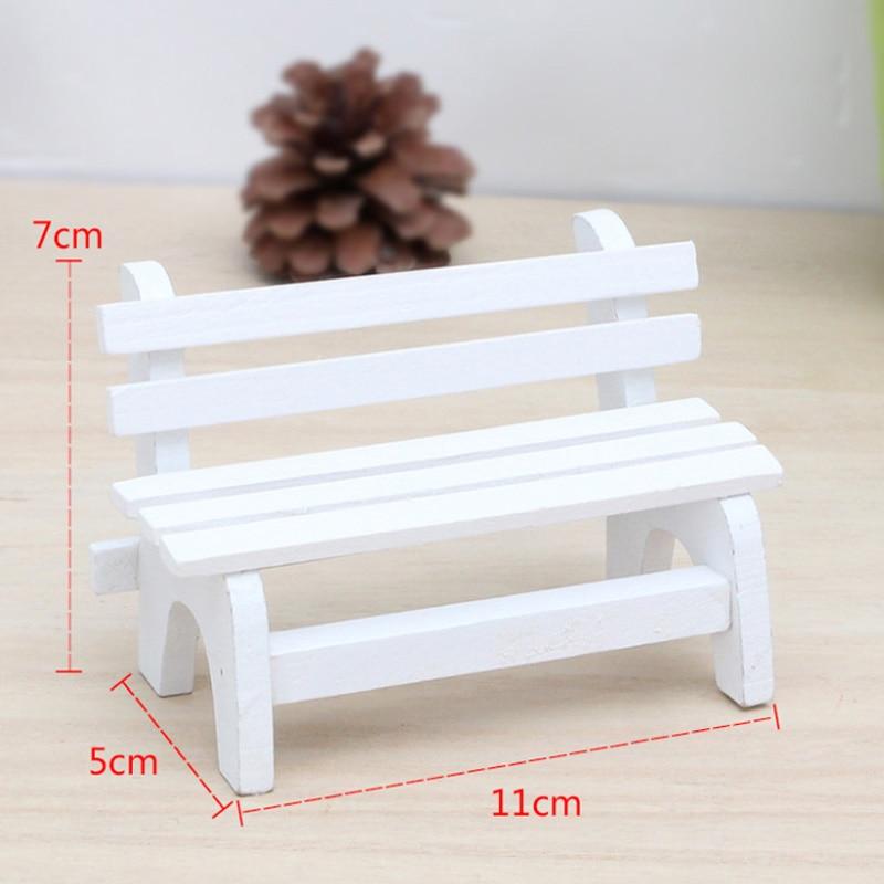 Съемки реквизит сад Miniatures мини белая скамейка деревянные украшения микро пейзаж аксессуары Террариум Moss Декор