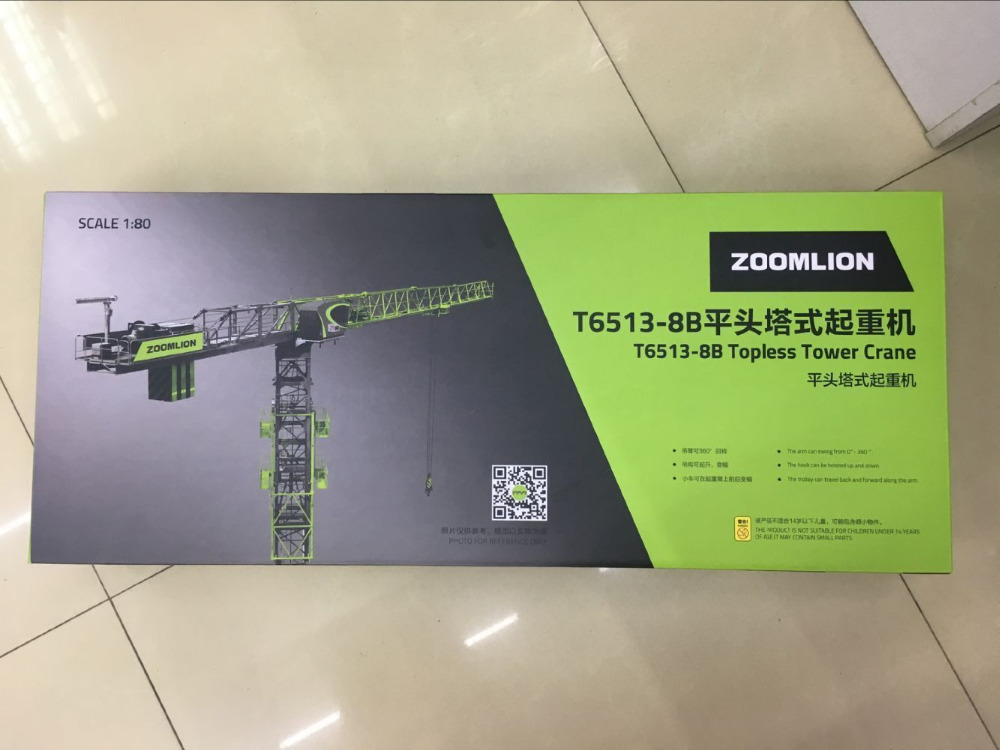 New Arrived!! Zoomlion T6513-8B Topless Tower Crane 1/80 New in Original Box promotion 6 7pcs baby cot bedding crib set bed linen 100% cotton crib bumper baby cot sets free shipping 120 60 120 70cm
