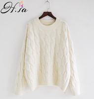 H.SA Winter Casual Women Sweaters Oneck Loose Oversized Twisted Pullover and Jumpers Winter Warm Pullovers christmas sweater