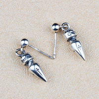Gothic Punk Stijl Bullet Spike Nail Drop Earring Mannen Vrouwen 100% Massief Sterling Zilver 925 Meest Trendy Antiek Zilver 925 sieraden